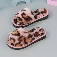 2020 الأطفال الشتاء المنازل النعال الدافئة القطن أحذية النساء أفخم النعال داخلي عدم الانزلاق ليوبارد الشعر الاطفال بنين 1