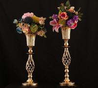 10pcs hauts métal quartiers de mariage pour tables de réception Tables d'or Fleur Vase Vase Décoration pour les événements de fête Cérémonie d'anniversaire SN4977