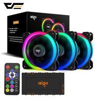 DarkFlash Aigo DR12 RGB Fan 120mm PC Soğutucu Fan RGB Sessiz Soğutma PC Oyun Kılıfı Için IR Uzaktan Kumanda Soğutucu AM3 AM41