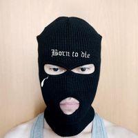 Czapka / czaszki Czapki WZCX Osobowość Haftowane litery Hip Hop Winter Mask Hat Utrzymuj Ciepłe Unisex Halloween Party Cycling Ski Beanie