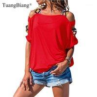 Kadın T-shirt Yaz Kadın Kısa Kollu Kapalı Omuz T Shirt 2021 Patchwork Slash Boyun Artı Boyutu Tees Bayanlar Seksi Temel Oymak T-Shir