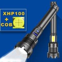 LED الشعلة XHP100 قوية مضيا 18650 XHP90 الصيد التكتيكية مضيا usb قابلة للشحن ضوء فلاش LED XHP70 الشعلة ضوء 210322