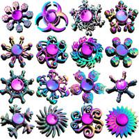 Arco-íris Fidget Fidget Spinner Dedo Brinquedo Liga de Zinco Metal Hand Spinners Fingertip Gyro Spinning Top Stress Relevo Descompression Descompactação Ansiedade Toys