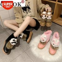 2021 Winter Women Shoes bonito gato cristal rosa plataforma plataforma de plataforma Botas de neve morna botas peludo booties de moda feminino # 0T4J