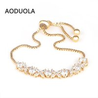 3 color jewelry CZ charms Four flowers Rhinestones bracelet top quality Gift For Women bracelets Fashion summer style