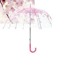 Creativo trasparente fiori di ciliegio ombrello manico lungo fumetto cartoon carino carino resistenza al vento ombrelloni home sundries ragazze regalo 9yz h1