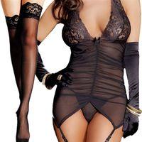 Odzież Kobiety Hot Baby Dolls Sexy Koronki Bielizna Seks Kostiumy Hollow Nightwear Free Garter Exotic Bielizna Plus Size.xxXL