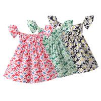 Ins Baby-Mädchen-Tutu-Kleider-Blume gedruckt ärmelloses Kinderrock New Summer Party Elegante Agarik Rock 3 Farben 2021