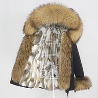 OFTBUY 2020 Kış Ceket Kadınlar Kısa Su Geçirmez Parka Gerçek Tavşan Kürk Liner Ceket Doğal Rakun Büyük Kürk Yaka Hood Çıkarılabilir LJ201201