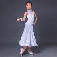 2020 Latin Dans Elbise Kızlar Için Beyaz Seksi Stand-up Yaka Peri Balo Salonu Dans Elbise Latin Uygulama Çocuk DQS54401