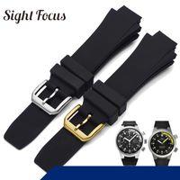 26x16mm Watch Band IWC Aquatimer Için Yedek Kayış IW354807 Bilezik Erkekler Siyah Sakince Kauçuk Kemer Pin Toka Masculino Y19070902