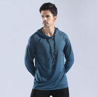 Jerseys de correr Hombre Invierno con capucha suéter Set Alto Elástico Secado rápido Ropa de Fitness Entrenamiento Hombre Camiseta de poliéster transparente