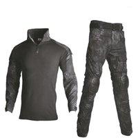 Охотничьи наборы Хань Дикий открытый пейнтбол одежда тактические боевые камуфляжные рубашки грузовые брюки костюмы с коленами локоть Pads1