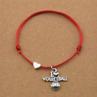 Cadeaux faits à la main j'aime volleyball football Basketball Basketball Football Football Softball Charme Charme Pendentif Rouge Cordon Cordon Cordon Cordon