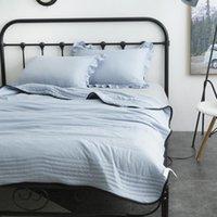 Демиссир сплошной цвет полосы шить промытый хлопчатобумажный мягкий кондиционер одеяло лето тонкий утешитель кровать одеяло двенадцать двенадцать лет