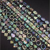Los Regenbogen Paua Abalone Shell Münze oval Quadrat Drop Heart Rechteck Teardrop Dreieck Oval Donut Star Diamant Perlen Schmuckherstellung Perlen