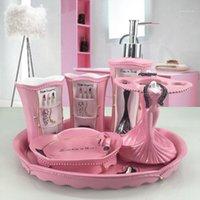목욕 부속품 세트 핑크 레이디 유럽 스타일 욕실 5 피스 웨딩 세면 도구 크리 에이 티브 선물 수지 칫솔 컵 액세서리 1