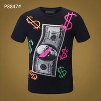 2021 Marka Tasarım Yaz Sokak Avrupa Moda Erkekler Yüksek Kaliteli Pamuk Tshirt Rahat Kısa Kollu Tee Tişört # 8608PP
