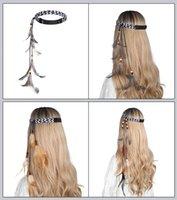 مهرجان الأزياء ريشة hairbands للمرأة بوهيميا عقال غطاء الرأس ريشة مرونة الشعر الفرقة اكسسوارات للشعر 2020