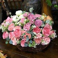 Belo vintage Austin Rosa Artificial Silk Flowers Buquê Flores Festa Casa Decoração Do Casamento Mariage Falsa Peônia Flor