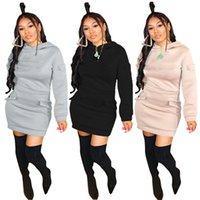 Kadınlar Düz Seksi S-2XL Mini Elbiseler Uzun Kollu Gece Kulübü Elbiseler Moda Ekip Boyun Güz Rahat Giyim 4210