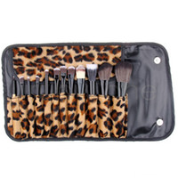 세트 당 12pcs 여성 프로 메이크업 브러쉬 세트 화장품 도구 레오파드 가방 아름다움 브러쉬 키트 RRA3896