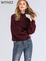 Maglioni da donna con scollo ad alto colore pullover a collo di colore solido a collo alto lanterna maglione maglione Tops TurtleNECK donna inverno donna maglioni