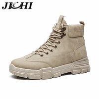 Jichi Militärstiefel Männer Leder Wasserdichte Lace Up Winter Männer Stiefel Knöchel Leichte Schuhe Für Männer Winter Casual Rutsch Rutsch 201215