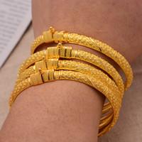 24K 4pieces / lot بالجملة الإثيوبي الذهب اللون أساور للنساء سعر المصنع الأفريقي الشرق الأوسط دبي هالوين مجوهرات Y1126