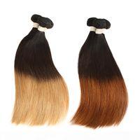 3 톤 인도 ombre 스트레이트 헤어 3 4 번들 조직 Cheveux Humain Blonde ombre Remy 인간의 머리카락 스트레이트 번들