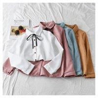 Algodón blusas ropa de mujer 2020 otoño arco corbata manga larga blusa y camisas blanco tops mascota pan kawaii girls blusa tops mujer f1211