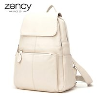 Zence Fashion Soft Genuine Cuero Genuino Mujeres Mochila Mochila de alta calidad A + Ladies Daily Casual Travel Bag Knapsack Schoolbag Book 201120