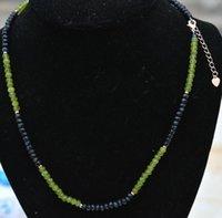 Цепи 2x4 мм граненый оливин черный нефритовый рондентель драгоценные камни ожерелье 18 ''