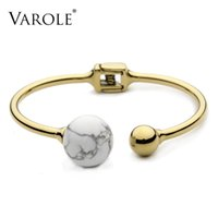 VAROLE Fashion Bangle for Women Bracelets & Bangles Jewelry Pulsera Bracelet for Women with Beautiful Turquoise Ball