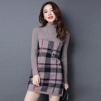 2020 novas mulheres outono vestido de inverno gola alta manga comprida xadrez de malha camisola vestido feminino blusas soltas