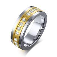 Панк старинные кубические циркония мужские кольца чистые вольфрамовые карбид свадебные полосы анильских пункт гомбров кольцо для мужчин оптом