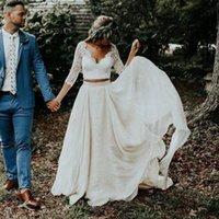 BOHO Abiti da sposa 3/4 maniche lunghe A Linea Bianco Avorio Chiffon Pizzo Pizzo Principessa Beach Breversa Abiti da sposa Due pezzi Abito da matrimonio 2021