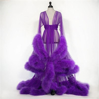 Customise Bridal Feather Nightgown Robes Transparent Tulle L...