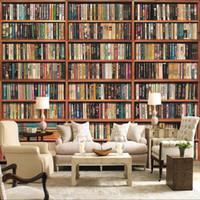 Пользовательские фото обои 3d стерео книжная полка росписью гостиной кабинет библиотека фона настенные покрытия 3d обои домашнее декор фреска1