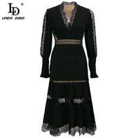 Повседневные платья ld lind della дизайнер моды осень элегантные черные женщины v-образным вырезом роскошные кружевные пэчворки вышивка старинное платье MIDI