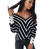 New style off shoulder V- neck sweater striped loose long sle...