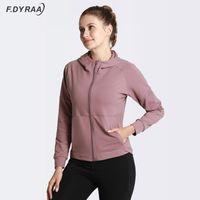 Vestes courantes F.Dyraa Jacket à capuche Sports Yoga Femmes Entraînement Top Fitness Zipper Tracksuits Entraînement Manteau à manches longues