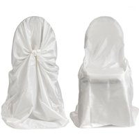 Cubierta de silla universal de satén de 50 unids para la cubierta de la silla de la autoportización de la boda para el restaurante del partido Favor de la fiesta de bodas con alta calidad1