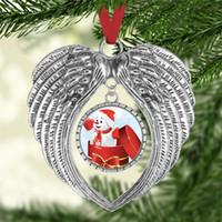 Sublimation Leere Weihnachtsdekorationen mit Schnee Rot Seil Heißer Transferdruck Engelsflügel Form Leere Verbrauchsmaterialien Lieferungen FWA2324