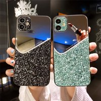 Geometria de luxo Glitter Capa de Capa para iPhone 12 Mini 12 11 Pro Xs Max X XR 7 8 Plus Maquiagem Espelho Voltar Caso Capa Capas