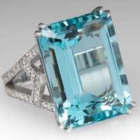 실버 컬러 925 공주 바다 블루 토파즈 다이아몬드 반지 사각형 보석 Bizuteria Anillo 925 쥬얼리 여성용 사파이어 반지 상자 Y1124