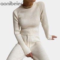 Aonibier otoño invierno moda suéter suéter traje de dos piezas pantalones calientes casual traje jersey mujeres pantalones anchos piernas mujeres conjuntos