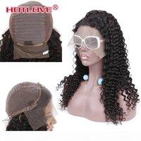 HOTLOVE Doğal Siyah Saç Peruk Kadınlar Için Brezilyalı Afro Derin Dalga Peruk 10-24 inç 13 * 4 Dantel Ön Peruk Remy Saç Öncesi Paltıklı Ağartılmış Knot