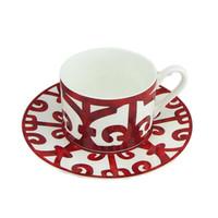 Керамическая стейка пластины чашка кофе и блюдце кости Китай посуда набор западного продовольствия красный узор 201116