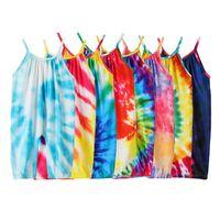 Kravat Boyalı Tulumlar Tırmanma Giysileri Gökkuşağı Sevimli Çok Renkli Moda Yeni Kadın Adam Romper Yaz 2020 23YXA K2